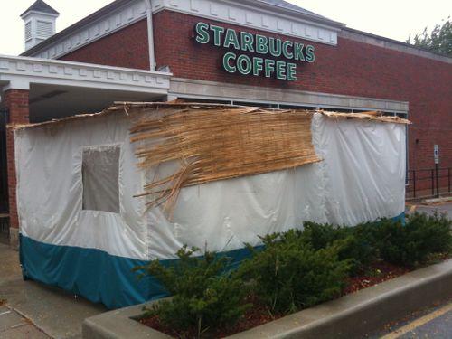 A sukkah built in front of a Starbucks in Skokie, IL.